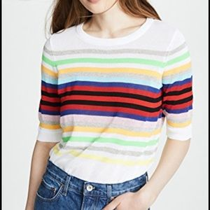 MILLY Rainbow Striped Pullover Light Knit Sweater